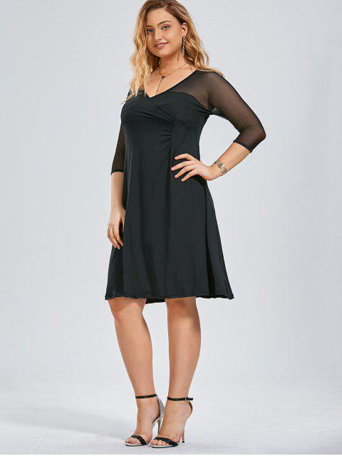 outfits Voile Panel Plus Size Surplice Dress - BLACK 3XL Mobile