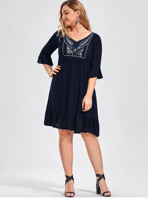 latest Ruffled Embroidered Plus Size Dress - PURPLISH BLUE XL Mobile