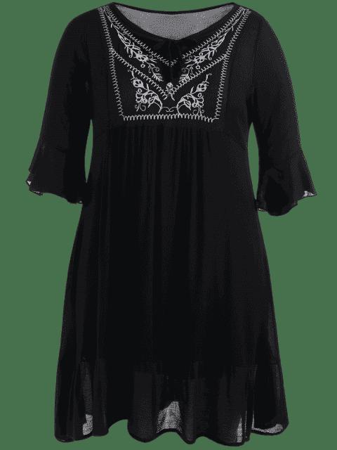 Robe à volants brodée - Noir 2XL Mobile