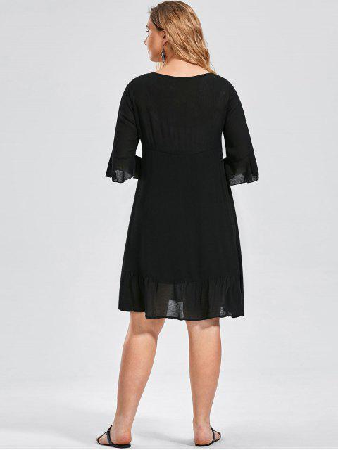 fancy Ruffled Embroidered Plus Size Dress - BLACK 2XL Mobile