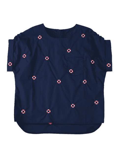 outfit Loose Life Buoy Embroidered Top - PURPLISH BLUE L Mobile