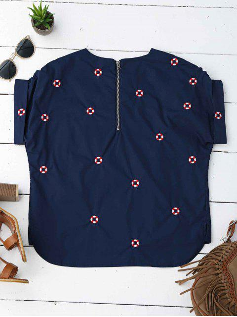 shop Loose Life Buoy Embroidered Top - PURPLISH BLUE S Mobile