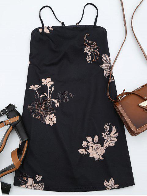 sale Floral Print Backless Cami Dress - BLACK L Mobile