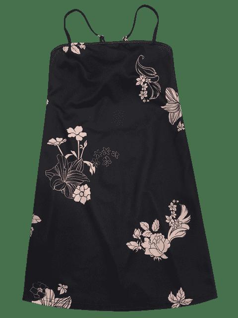 affordable Floral Print Backless Cami Dress - BLACK M Mobile