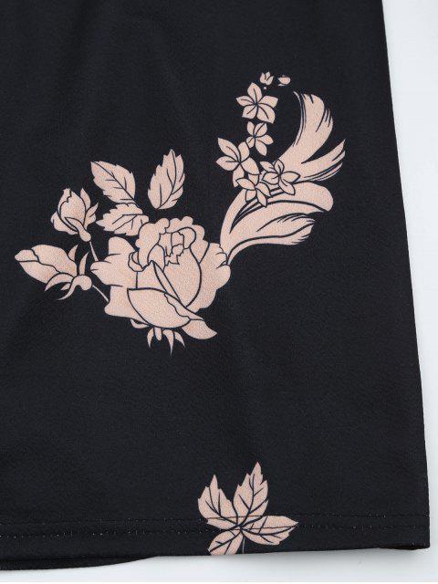 Robe imprimée à motifs floraux sans manches - Noir S Mobile