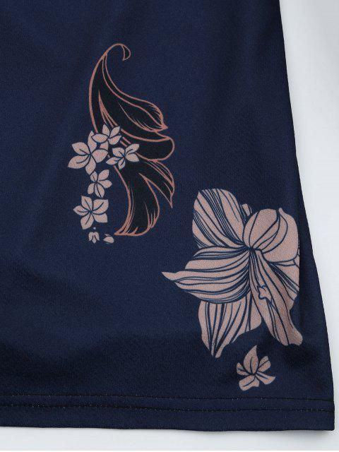women's Floral Print Backless Cami Dress - PURPLISH BLUE L Mobile