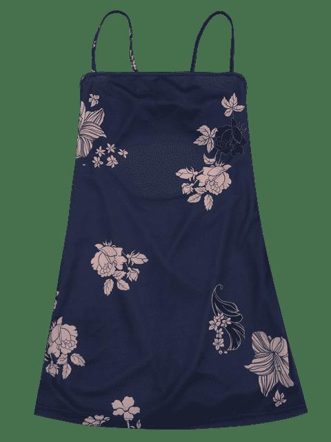 Robe imprimée à motifs floraux sans manches - Bleu Violet L Mobile