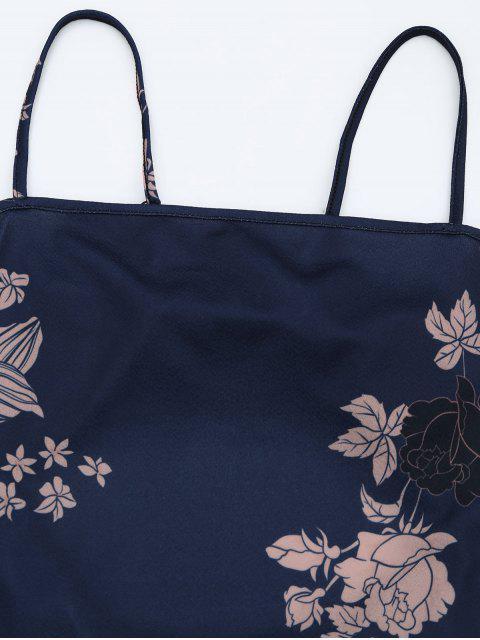 Robe imprimée à motifs floraux sans manches - Bleu Violet XL Mobile