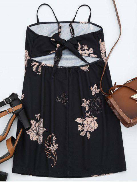 lady Floral Print Backless Cami Dress - BLACK XL Mobile