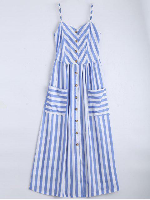 Cami Robe Boutonnée à Rayures avec Poches - Bleu clair S Mobile
