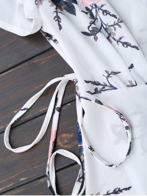 mini robe frappé en motif floral - Blanc S Mobile