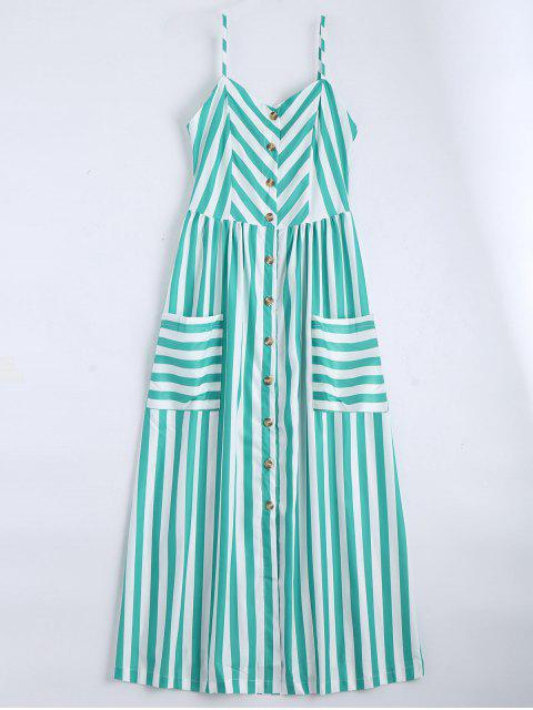 women's Button Up Striped Cami Dress - LAKE GREEN S Mobile