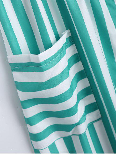 ladies Button Up Striped Cami Dress - LAKE GREEN M Mobile