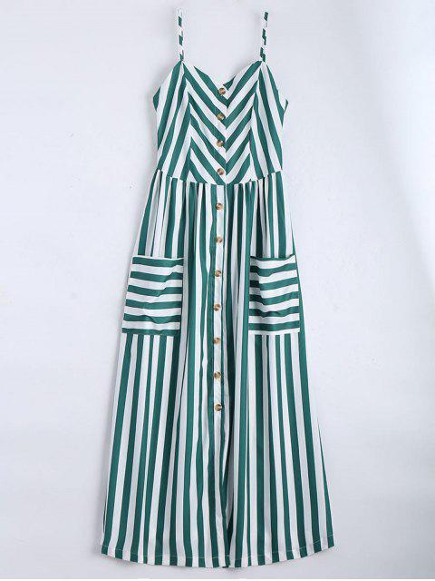 Cami Robe à Rayures Boutonnée - Vert Foncé S Mobile