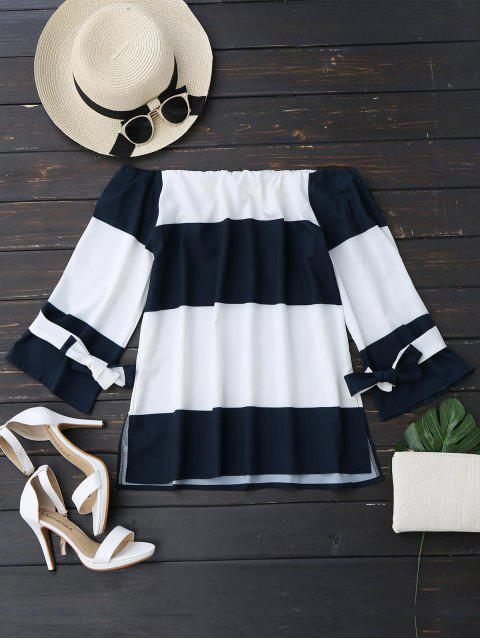 online Two Tone Bowknot Off Shoulder Blouse - BLUE AND WHITE L Mobile