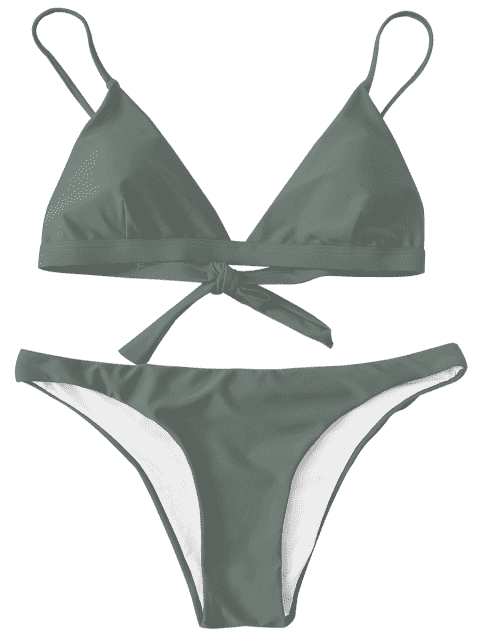 buy Padded Back Tied Bikini Swimwear - ARMY GREEN S Mobile