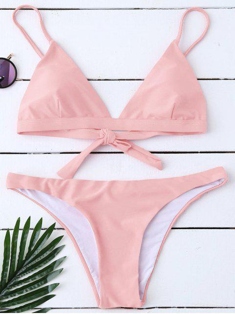 outfits Padded Back Tied Bikini Swimwear - PINK XL Mobile