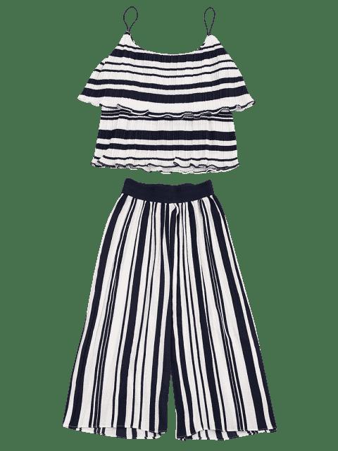 Tiered Flounce à rayures et ensemble à pantalons - Bande Bleu XL Mobile
