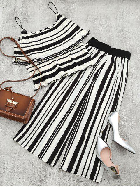 womens Tiered Flounce Striped Top and Pants Set - BLACK STRIPE S Mobile