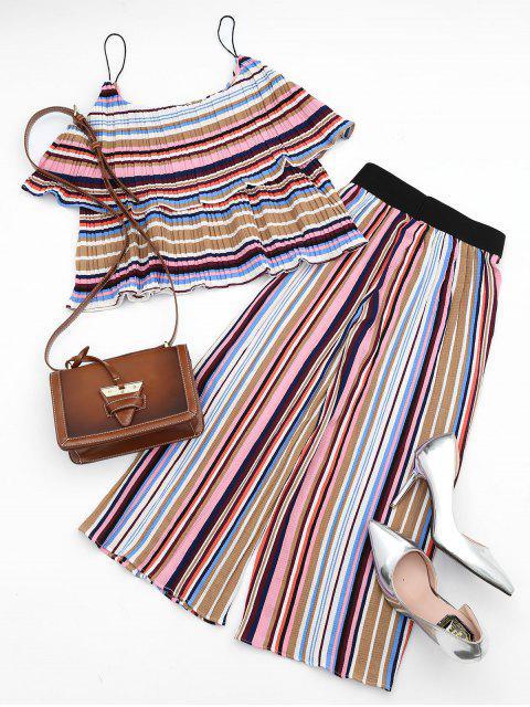 Tiered Flounce à rayures et ensemble à pantalons - Coloré L Mobile