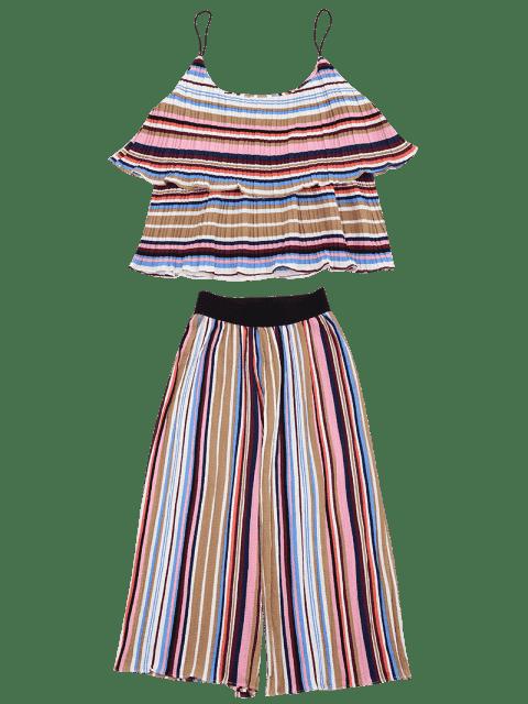 Tiered Flounce à rayures et ensemble à pantalons - Coloré S Mobile