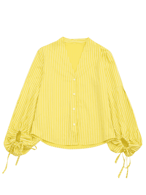 sale Drawstring Sleeve Button Up Striped Blouse - YELLOW L Mobile