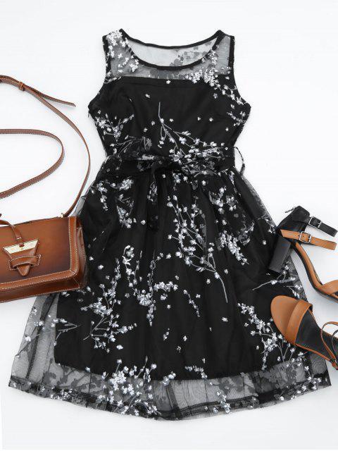 Robe imprimée  florale avec ceinture - Blanc XL Mobile