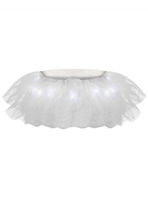 Tier Mesh Light Up Ballet Cosplay Jupe - Blanc TAILLE MOYENNE Mobile
