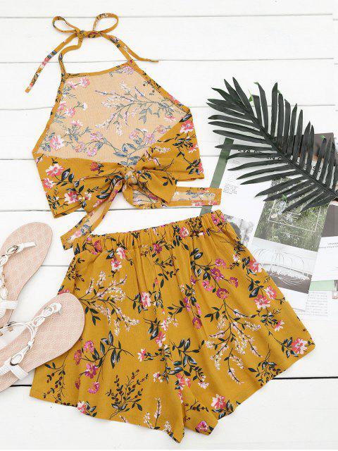 Halter Floral Crop Top avec Shorts - Jaune S Mobile
