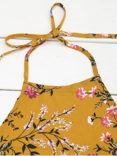 Halter Floral Crop Top avec Shorts - Jaune M Mobile