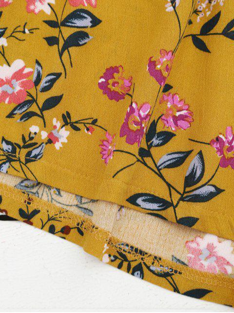 Halter Floral Crop Top avec Shorts - Jaune XL Mobile