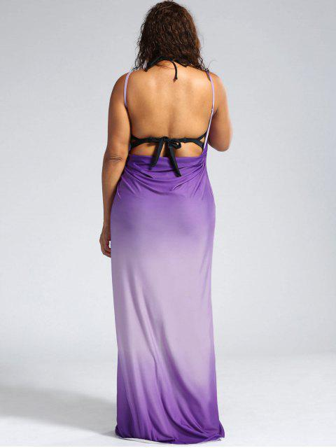 Ombre Plus Size Wrap Cover Up Maxi Dress - Pourpre 2XL Mobile