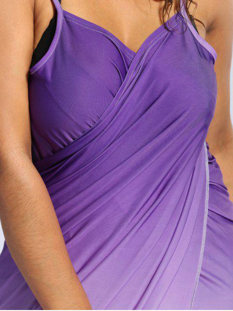 new Ombre Plus Size Wrap Cover Up Maxi Dress - PURPLE 2XL Mobile