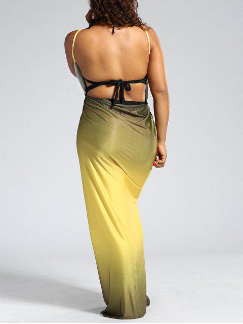 Ombre Plus Size Wrap Cover Up Maxi Dress - Jaune 5XL Mobile