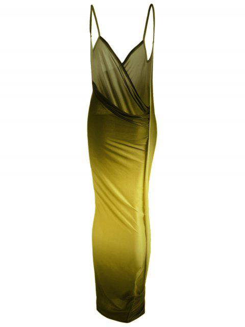 outfits Ombre Plus Size Wrap Cover Up Maxi Dress - YELLOW 4XL Mobile
