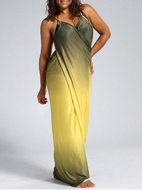 shop Ombre Plus Size Wrap Cover Up Maxi Dress - YELLOW 3XL Mobile