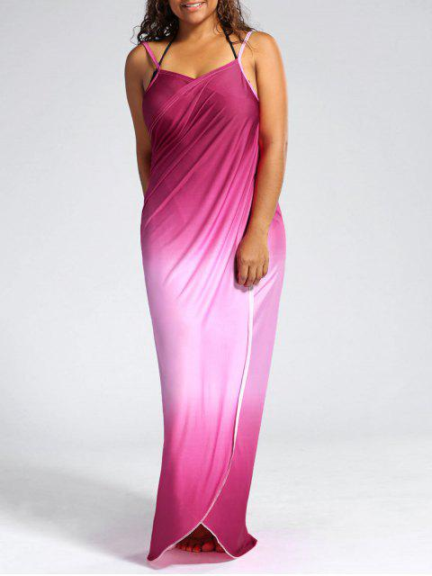 trendy Ombre Plus Size Wrap Cover Up Maxi Dress - PINK 5XL Mobile