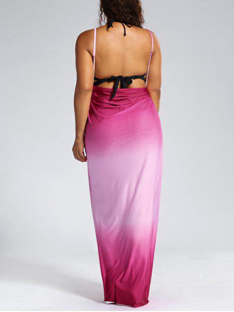 Ombre Plus Size Wrap Cover Up Maxi Dress - ROSE PÂLE 4XL Mobile