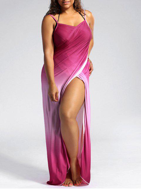 chic Ombre Plus Size Wrap Cover Up Maxi Dress - PINK 3XL Mobile