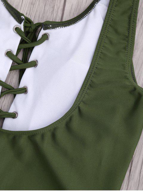 Maillot de bain une-pièce lacé haut - Vert Armée S Mobile
