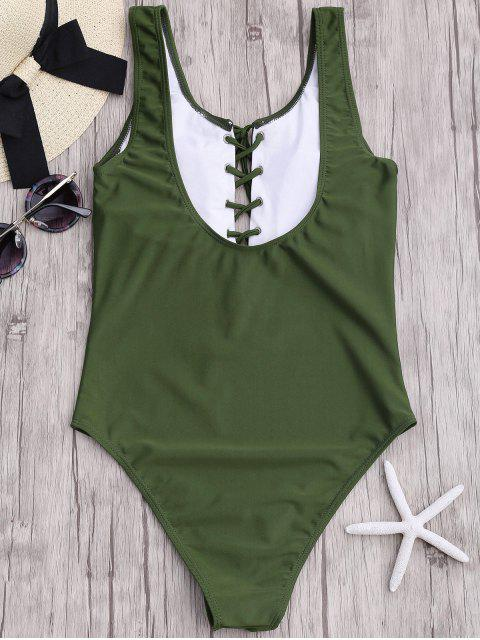 outfit Lace Up Slimming One Piece Swimsuit - ARMY GREEN S Mobile