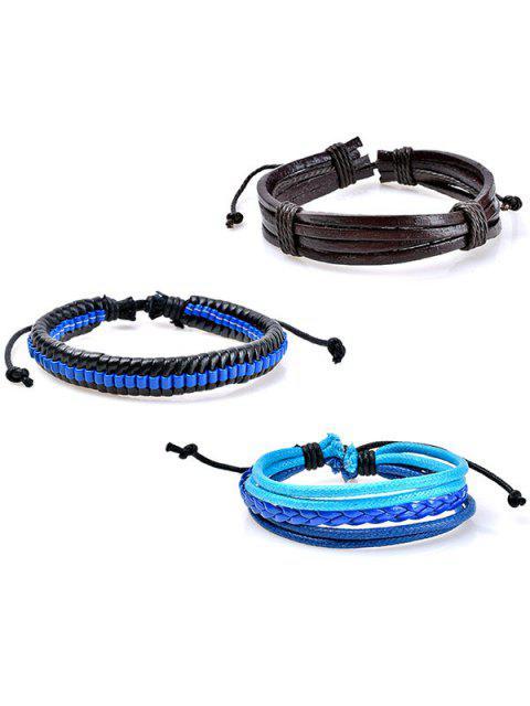 women's Beaded Woven Faux Leather Rope Bracelets Set - BLUE  Mobile