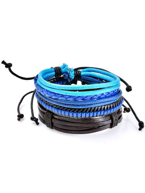 women's Beaded Woven Faux Leather Rope Bracelets Set - BLUE  Mobile