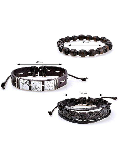 lady Faux Leather Layered Woven Friendship Bracelets Set - COFFEE  Mobile