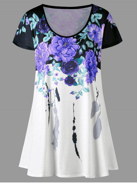 fancy Plus Size Floral Longline T-shirt - PURPLE XL Mobile