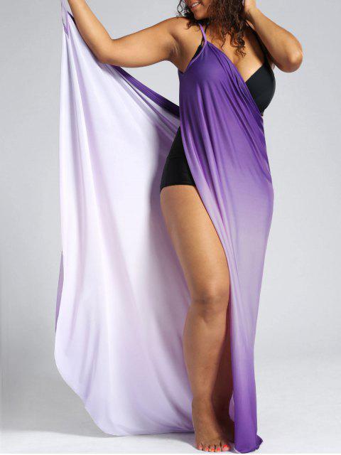 Ombre Plus Size Wrap Cover Up Maxi Dress - Pourpre 2XL Mobile