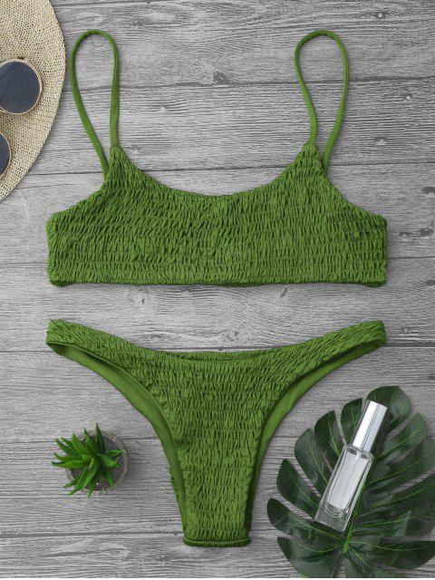 shop Smocked Bikini Top and Bottoms - GRASS GREEN S Mobile