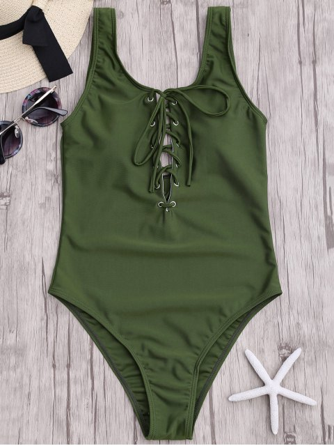 hot Lace Up Slimming One Piece Swimsuit - ARMY GREEN M Mobile