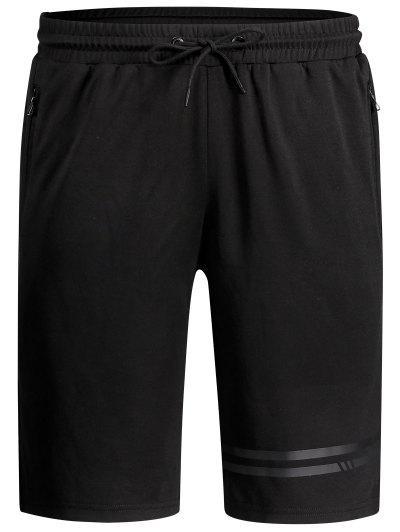 Seamless Zip Pocket Drawstring Shorts - Preto 2xl