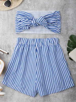 Knot Bandeau Shorts Set Beach Cover Up - Blue And White M